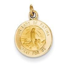 Our Lady of Fatima Medal Charm in 14k Gold