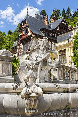 Allegoric statuary group of a fountain in Peles castle garden, Sinaia, Romania. Peles castle is the most visited museum in Romania with more than 300.000 tourists every year.
