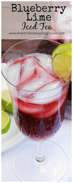 Blueberry-Lime Iced Tea ~ Beat the summer heat with this refreshing & flavorful combination!  www.thekitchenismyplayground.com