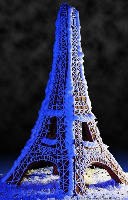 This Parisian Themed Gingerbread Eiffel Tower | Community Post: 25 Amazing Gingerbread Houses