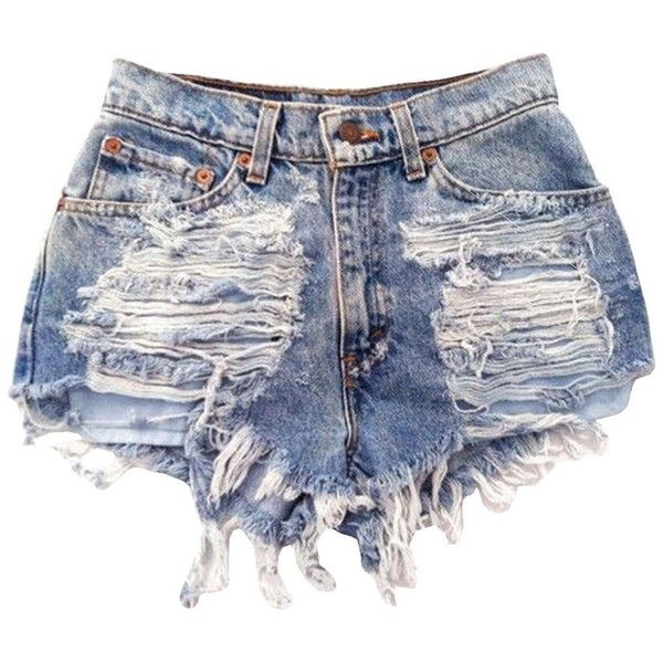 FsJoy Women's Sexy Slim Classic Denim Ripped Destoryes Hole Mini... (€9,99) ❤ liked on Polyvore