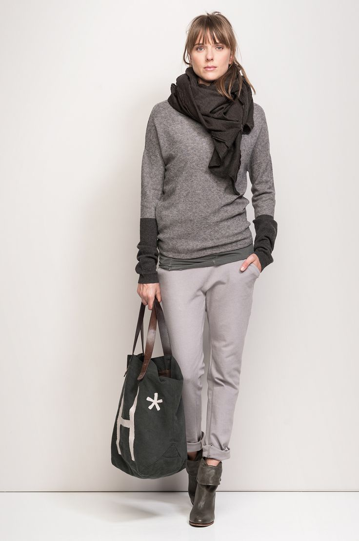 SELIN › TROUSERS › #HUMANOID WEBSHOP I would add a colorful scarf instead of the gray one - otherwise too much gray