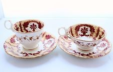 Antique Vctorian 19thC Samuel Alcock Hand Painted 2 x Duos #2728, Cups & Saucers
