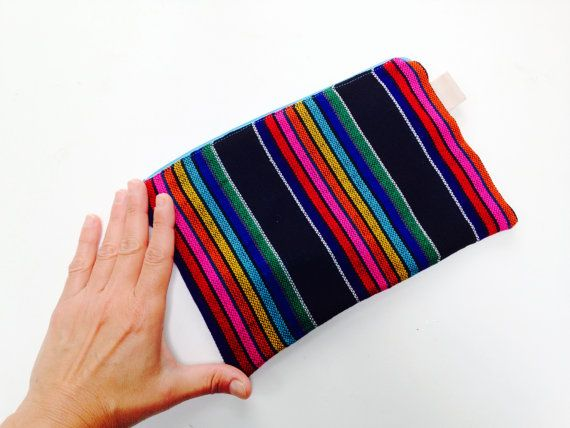 Mexican Pencil Case with Zipper - Striped Make up Pouch - Black Fabric Purse - Aztec Bag - Back to School on Etsy, $17.10