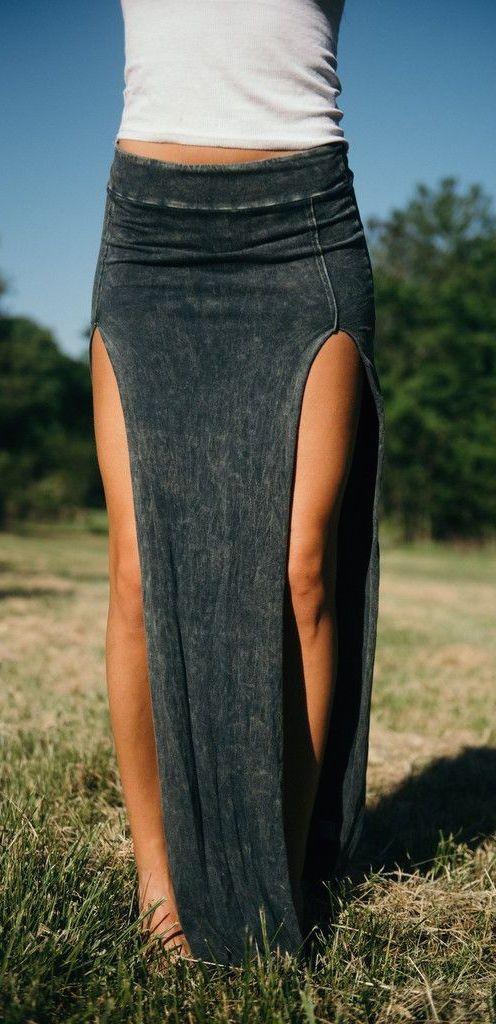 #summer #outfits / split denim maxi skirt
