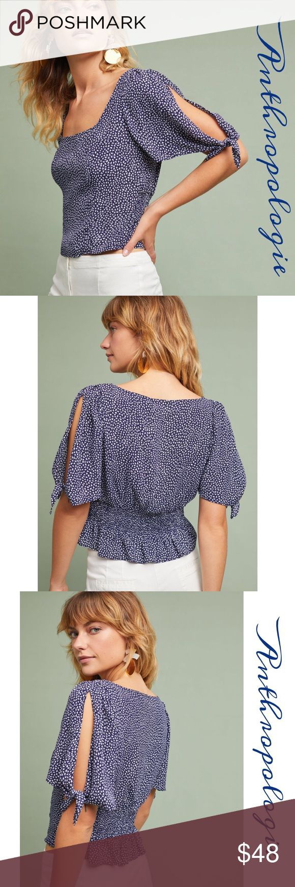 "Anthropologie Tie-Sleeve Top Mauve collection Blouse in navy and white patterned Viscose features a cropped silhouette, tie- sleeve details, easy pull- on style. An anthropologie exclusive. Approx measurements: length 21"", bust 38-40"", waist 34-36"", stretchy back for hip area Anthropologie Tops Blouses"