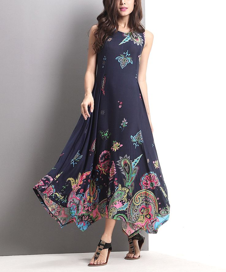 Look at this Navy Floral Paisley Handkerchief Maxi Dress on #zulily today!