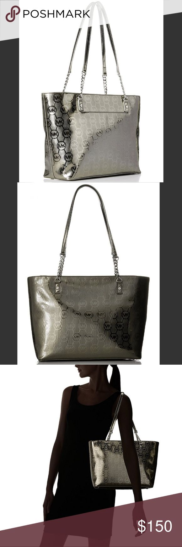 Michael Kors Jet Set Chain Tote - Metallic Cocoa Like new!!! Used maybe twice. Beautiful metallic pewter color with tons of pockets. No marks, scratches or other imperfections. Perfect size! Feel free to ask any other questions! Michael Kors Bags Totes