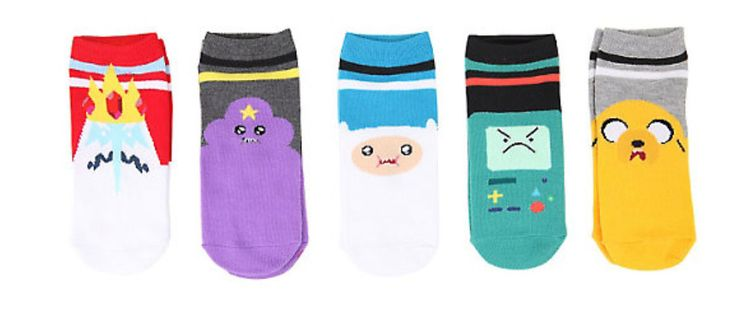 Officially Licensed Adventure Time Varsity No-Show Socks 5 Pair