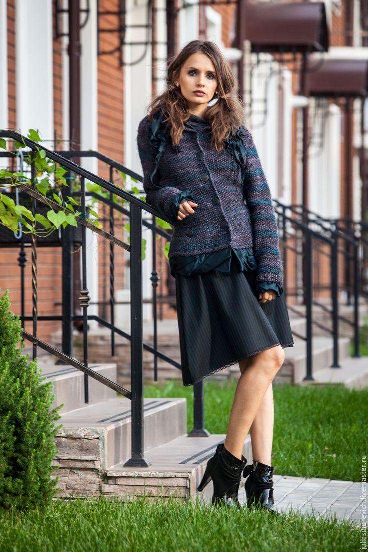 Купить V_009 Юбка-трапеция с карманами - в полоску, юбка, дизайнерская юбка, на каждый день