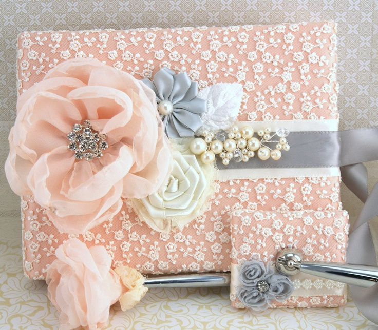 Wedding Guest Book And Pen Set Signature In Ivory Peach Light Grey With