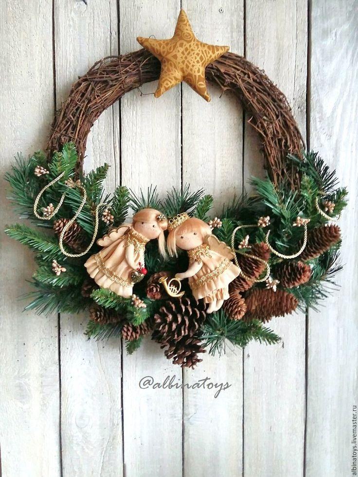 Купить Венки. Рождественский венок  Утро Рождества, большой, 60 на 50 см - венок, интерьерное украшение