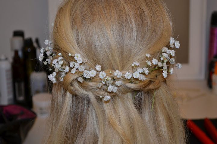 Gypsophila flowers entwined with a boho plait at the Lovehair studio, www.lovehair.co.uk