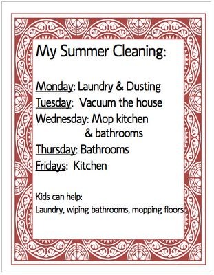 Summer Cleaning schedule, free printableMotivation Ideas, Organic, Ideas Fun, Free Summer, Cleaning House, Cleaning Schedules, Schedule Printables, House Cleaning, Summer Cleaning