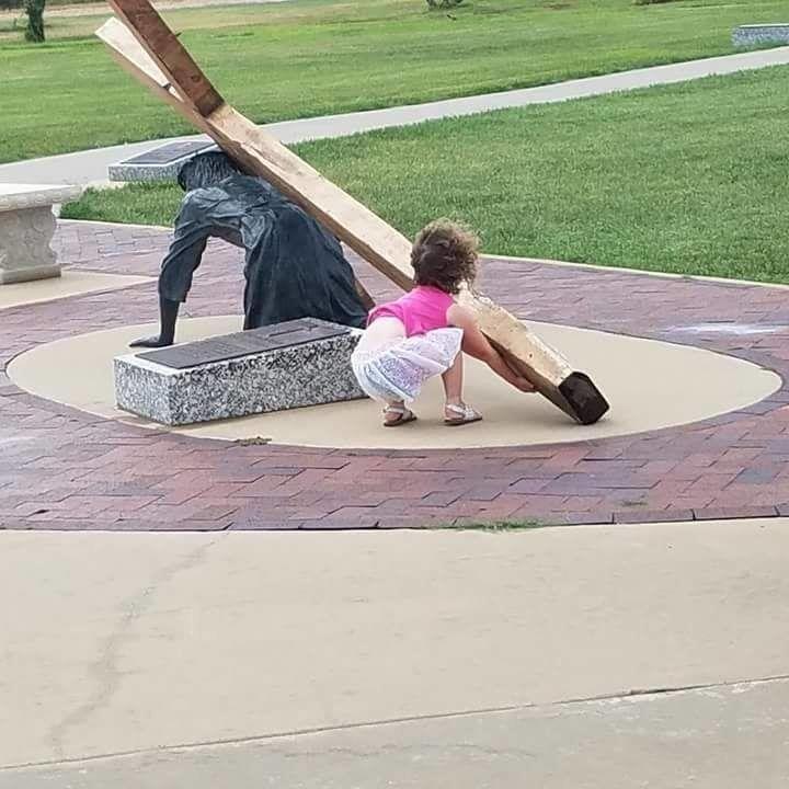 Little girl helps Jesus to carry His Cross | Children praying, Jesus,  Childlike faith