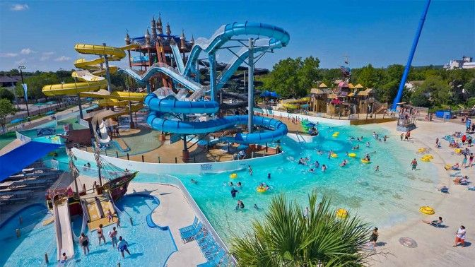 Top Water Parks: 4. Schlitterbahn, New Braunfels, Texas. There may be disagreement over which of the five Schlitterbahn water parks is the best (there are three more in Texas and one in Kansas), but there's no doubt that the Falls, a 3,600-foot-long raging rapid ride featuring giant waves and drenching waterfalls in New Braunfels, is a blast.