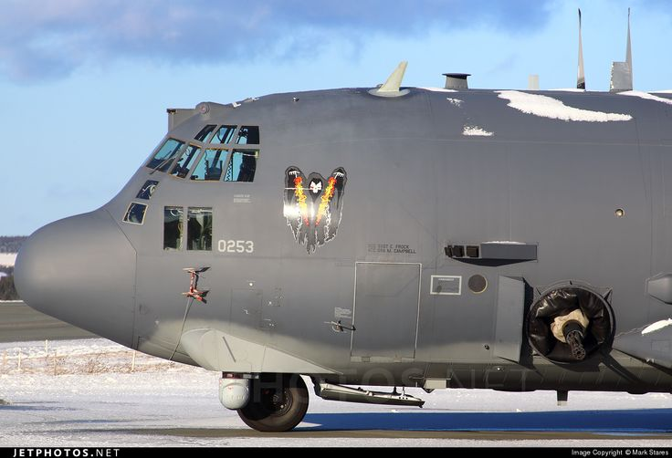 "zainisaari:  AC-130U SPOOKY IIPhoto of 92-0253 Lockheed AC-130U Spooky II by Mark Stares. The ""Spooky II"" gunship program consists of 13 new Lockheed C-130H airframes with improved armament, advanced sensors, a Hughes APG-180 fire control radar system, GPS, the ALQ-172 Electronic Countermeasure System, an ALR-56M radar warning receiver, an APR-46A panoramic receiver, and an AAR-44 infrared warning receiver integrated with a series of ALE-40 chaff & flare dispensers. The modifications all..."