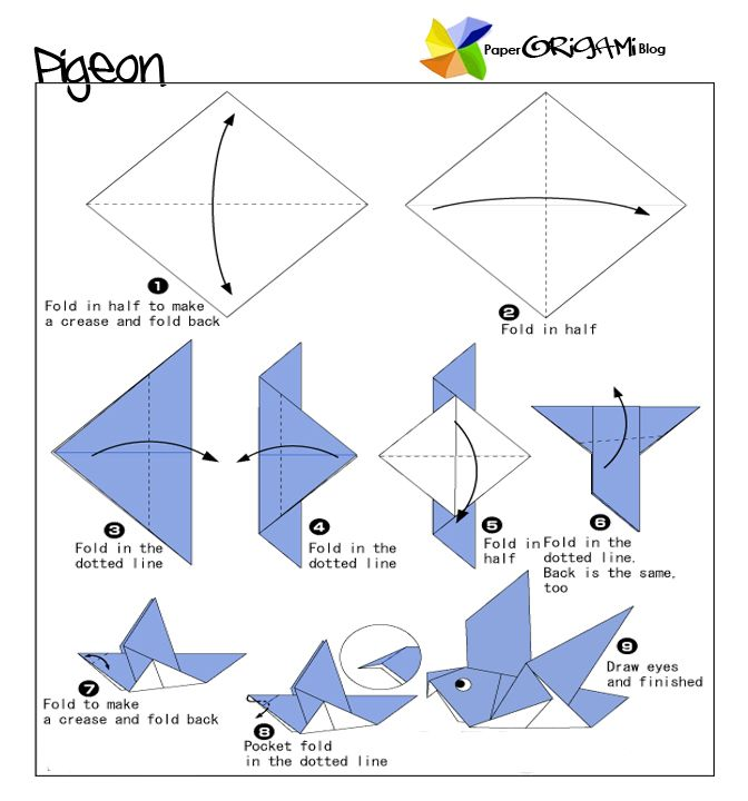 tutorial origami bird