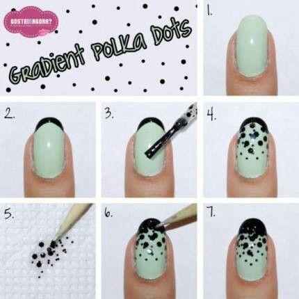 Polka Dot Grant Tutorial Fancy Nail Art Mint And Black Hair Nails Pinterest Designs