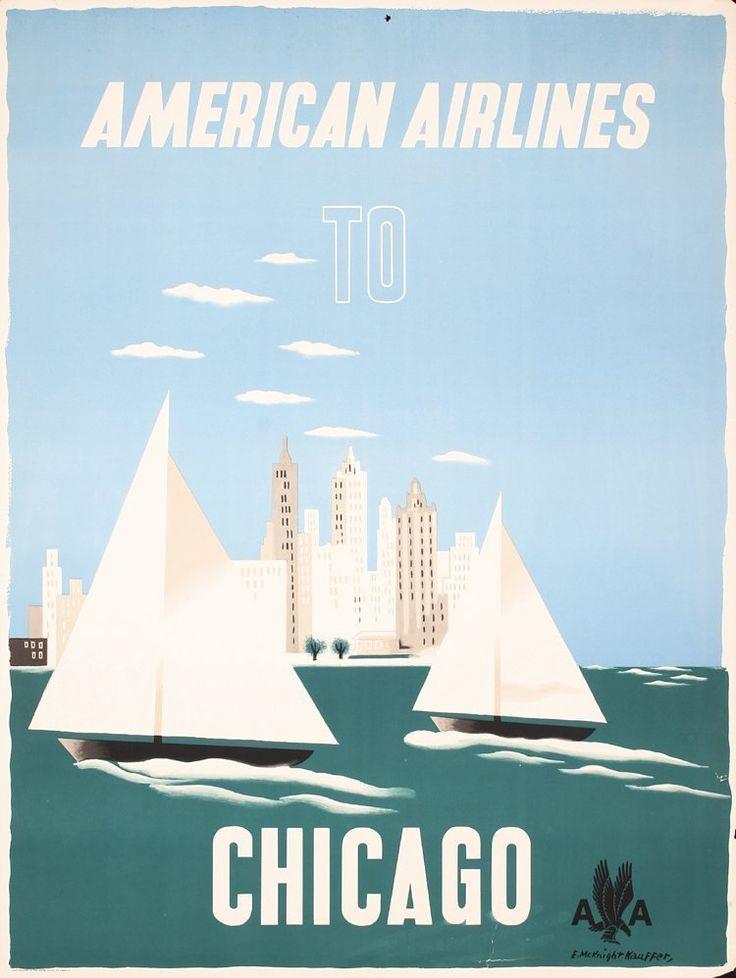 Edward McKnight Kauffer, American Airline to Chicago, 1948