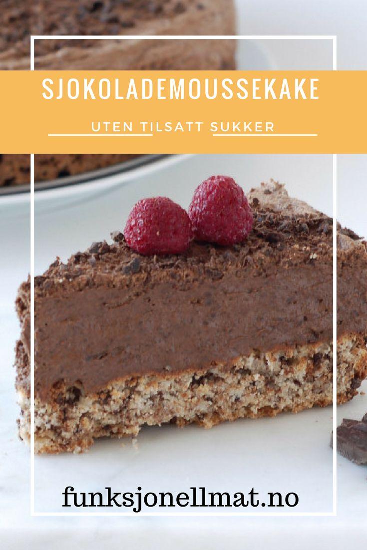 Sjokolademoussekake - Funksjonell Mat | Dessert uten tilsatt sukker | Sjokolade dessert | Kake oppskrift | Sukkerfri kake | Sukrin | Sukkerfri dessert | Baking inspirasjon | Sukkerfri oppskrift