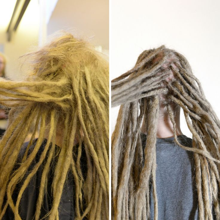This is Erik, he had just let his dreadlocks be for some time and when he realised that it was time for some help he contacted me. I seperated all dreadlocks and made the loose hair go into the right dreadlock. and added some extra dreadlocks were he lost some. Now he has nice clean dreadlocks again.