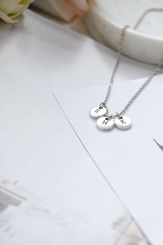 11e4183da669 Initial Necklace, Silver Initial Necklace, Personalised Initial ...