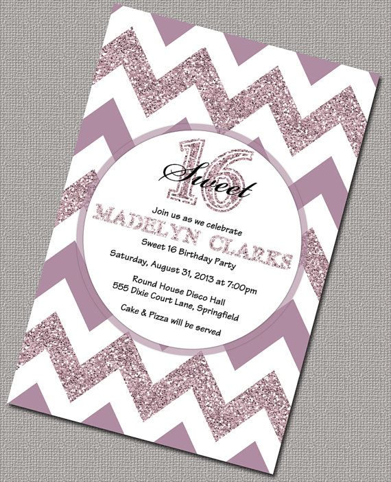 46 best sweet sixteen ideas images on pinterest ballroom dress sparkly chevron 16th birthday invitations diy sweet sixteen birthday party invitations and matching party decorations solutioingenieria Choice Image