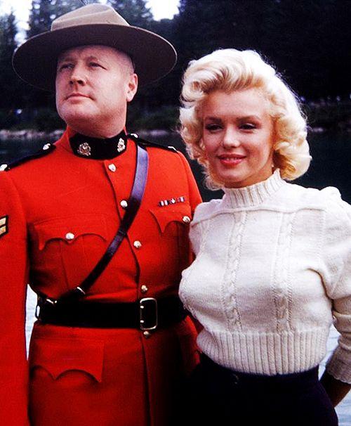 "Marilyn in Canada filming ""River of No Return"" in 1953."