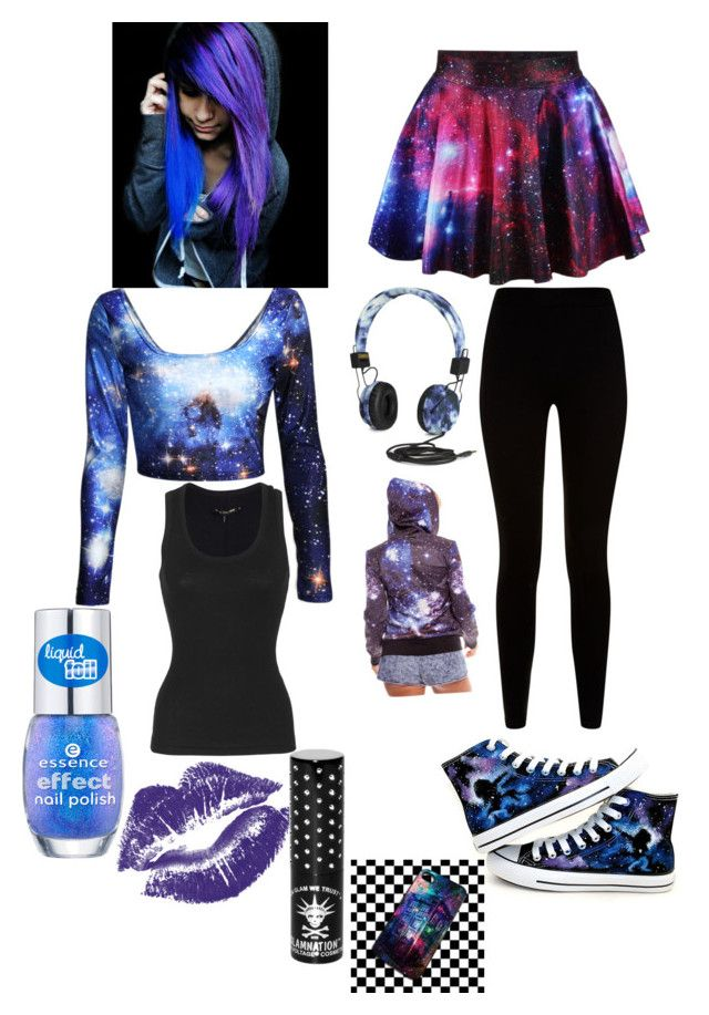 """Galaxy Girl(Emo-ish)"" by mikulove ❤ liked on Polyvore"