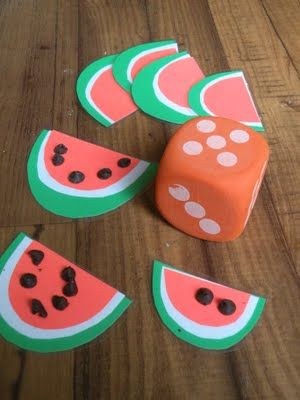 Counting with chocolate chips as watermelon seeds... this might not work with my sugar-loving toddler.. haha