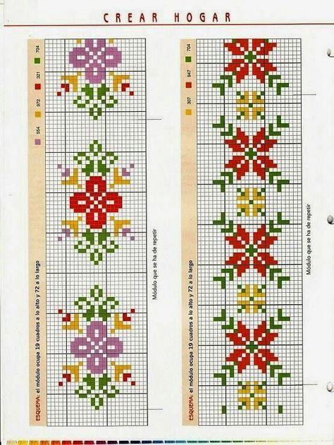Flores de navidad en punto de cruz Más