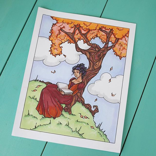 💚Another colouring page!! These are so fun!! 😄💁🏻💚Art by @mishmasheline Colouring by me!💚 #animegirl #animegirls #mangagirl #mangagirls #coloringcraze #coloringpage #coloringpages #scene #adultcoloringpage #markers #artistmarker #artistmarkers #fallscene #autumnscene #treescene
