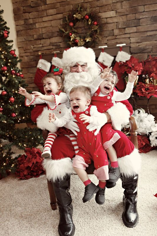 It's scarier than you'd think, my daughter would not get within 20 feet of Santa from 5mo old to 10 yrs old.  Her brothers would always ask Santa for an extra treat for their sister, they would point to her and she would wave <3