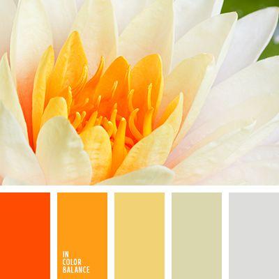 amarillo pálido, amarillo y gris, anaranjado polvoriento, anaranjado sucio, anaranjado vivo, color nacarado, color ocre, de zanahoria, gris y anaranjado, gris y blanco sucio, matices del marrón rojizo, tonos ígneos.