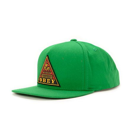 Grab an instant style brighten with the Obey Capitol snapback hat in the Kelly Green colorway. A bright kelly green hat accents the Obey Triangle logo patch embroidered at the front with an adjustable snapback sizing piece to ensure you get the right fit