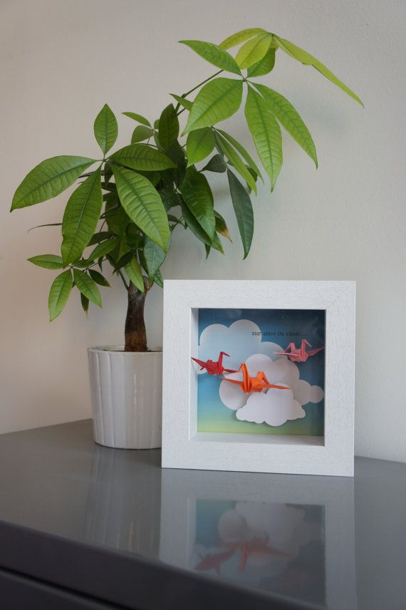 Medium shadow box framed art with suspended Origami cranes, 3D clouds and hand printed slogan - personalisable