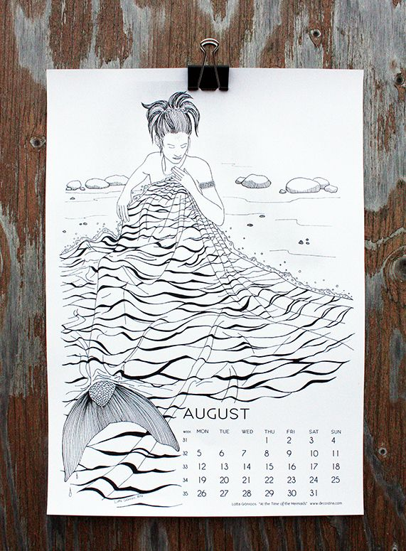"""At the Time of the Mermaids"" by Lotta Grönroos, for August in calendar 13."