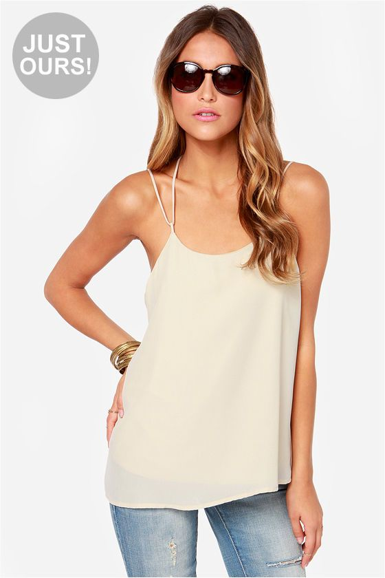 LULUS Exclusive Undivided Attention Light Beige Top at LuLus.com!