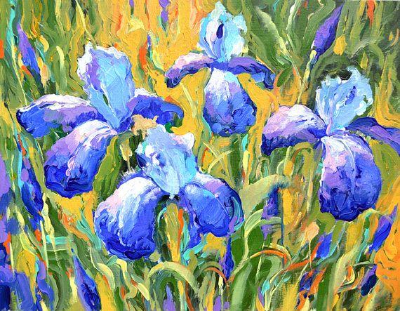 """Irissen -€ 218,50  impressionisme. Paletmes olieverfschilderij op doek door Dmitry Spiros. Klaar om te hangen. Grootte: 20 """"x 26"""""""