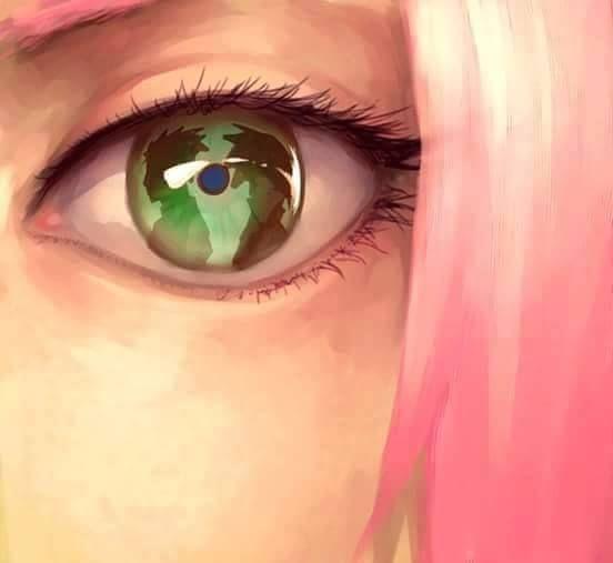Sakura looking at Naruto and Sasuke
