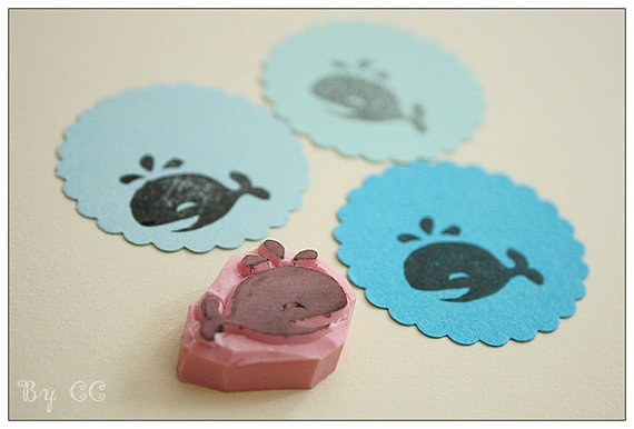 Baby Whale  Hand Carved Rubber Stamp  Super Cute by CCdiy on Etsy, $7.99
