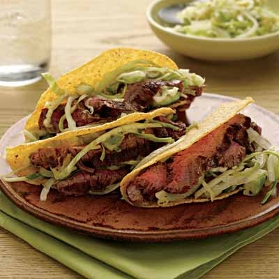 Avocado Salad-Topped Steak Tacos {taco night never gets old}