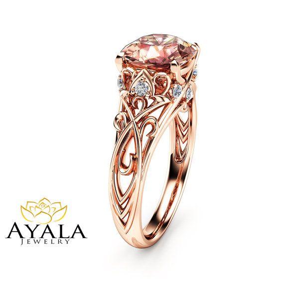 Peach Pink Morganite Engagement Ring 14K Rose by AyalaDiamonds