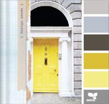 design seedsColors Combos, Design Seeds, Color Schemes, Room Colors, Living Room, Front Doors, Colors Palettes, Colors Schemes, Yellow Doors