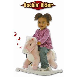 Rockin' Rider Pony Rocker Animated Plush Rocking Horse, Pink