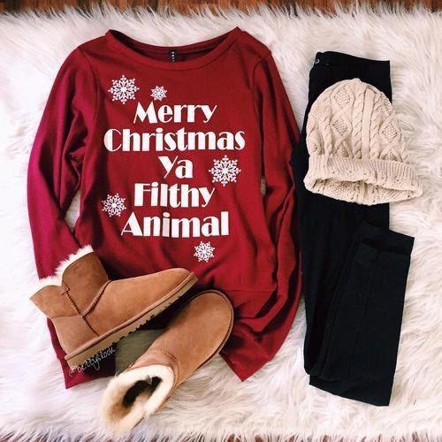 Merry Christmas You Filthy Animal Maroon Crewneck - Freshtops Marketplace