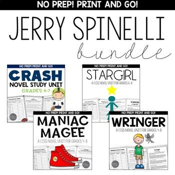 This Jerry Spinelli BUNDLE contains the following PRINT AND GO novel units WITH ANSWER KEYS: • Crash • Maniac Magee • Stargirl • Wringer If you are looking to: 1) differentiate instruction in your middle school classroom teaching novels, this is a perfect tool. 2) have a resource that can be utilized with reading groups throughout the school year!
