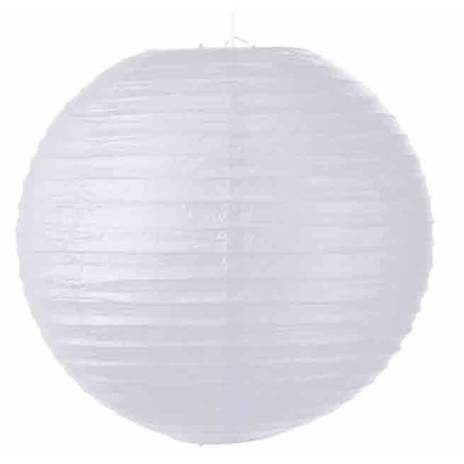 Suspension boule en papier blanc diam tre 35cm panj for Suspension luminaire papier
