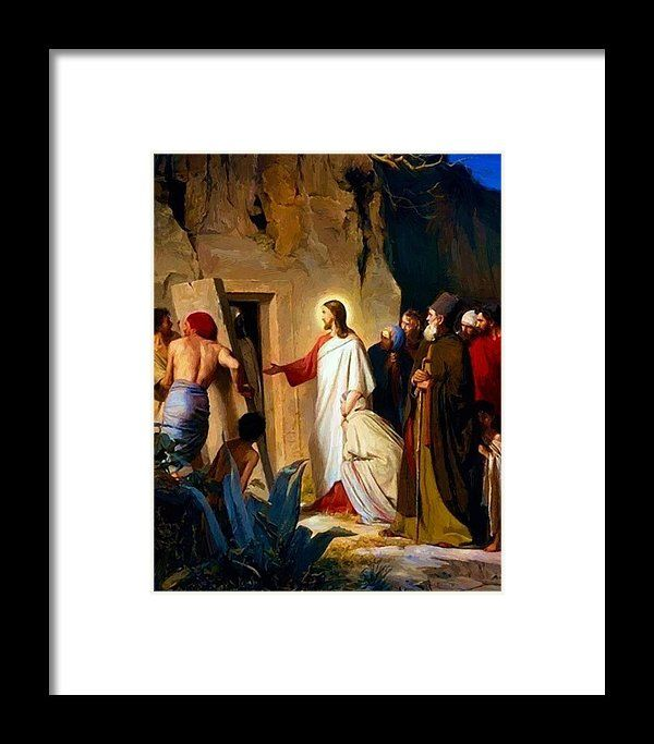 Raising Framed Print featuring the painting Raising Of Lazarus 1870 by Bloch Carl